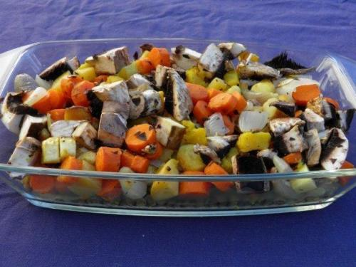 Add fresh mushrooms and fresh herbs to roasted vegetables