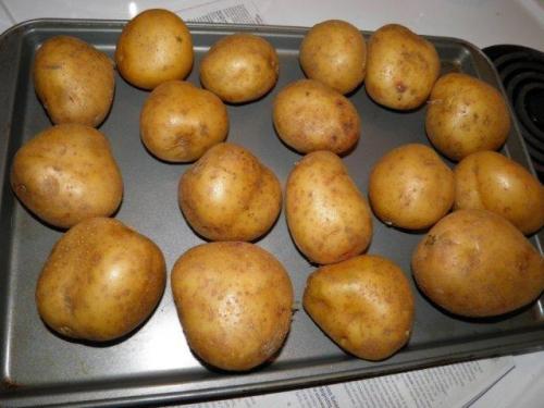 Bake unpeeled potatoes until tender