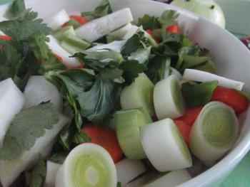 Clean and cut all the vegetables