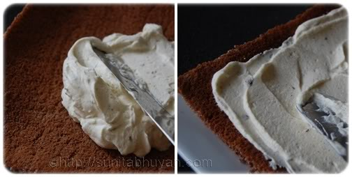 Divide the cream mixture between the completely cooled cakes