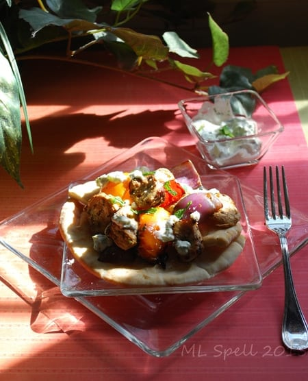 Fill pitas with chicken, vegetables, and Tzatziki sauce 1