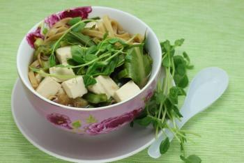 Green Tea, Tofu, and Noodle Soup