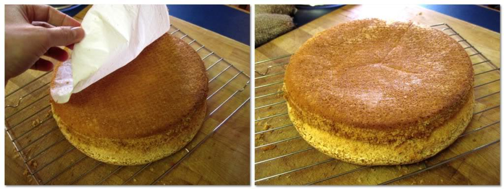Invert the cake onto a cooling rack and peel off the parchment paper