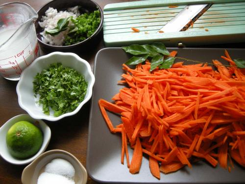 Julienne or coarsely grate the carrots
