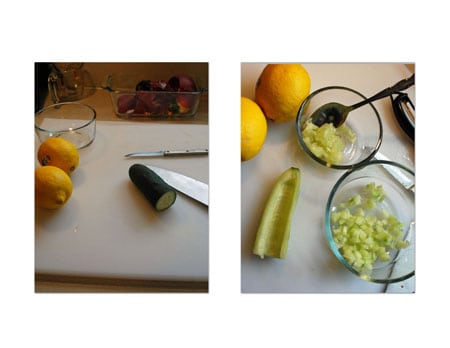 Peel the cucumber