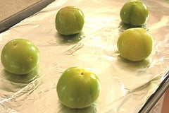 Place tomatillos on baking sheet