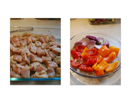 Pour the remaining mixture over the peppers and onions