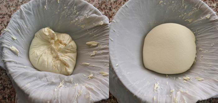 Remove the ricotta from the colander