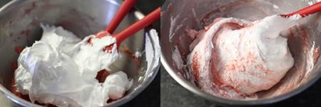 Scrape the meringue onto the almond mixture
