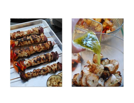 Slide chicken and vegetables