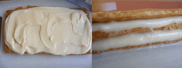 Spread the remaining crème pâtissière and place the last sheet of pastry on top