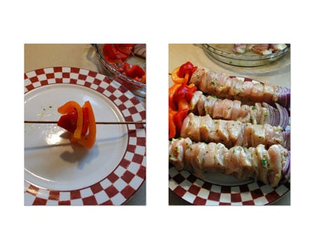 Thread 4 pieces of bell pepper