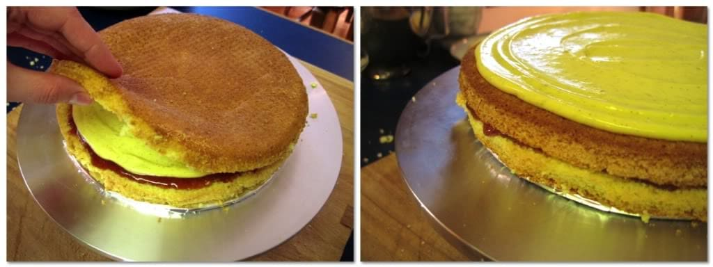 Top the custard with another layer of cake