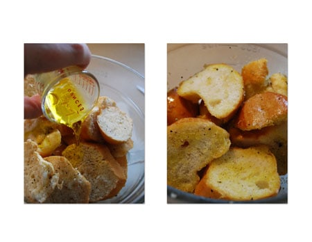 Toss the bread, oil, and seasonings together