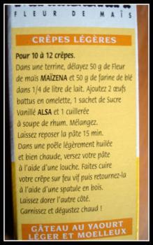 crêpe recipe printed on a corn starch box