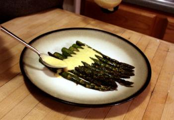 poured over roasted asparagus