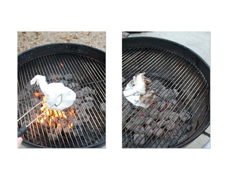 rub oil-soaked rag over the grates