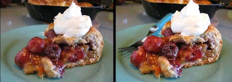 Cherry rhubarb skillet pie, notice the difference adding a fork can make. It fills an empty space without distracting from the food