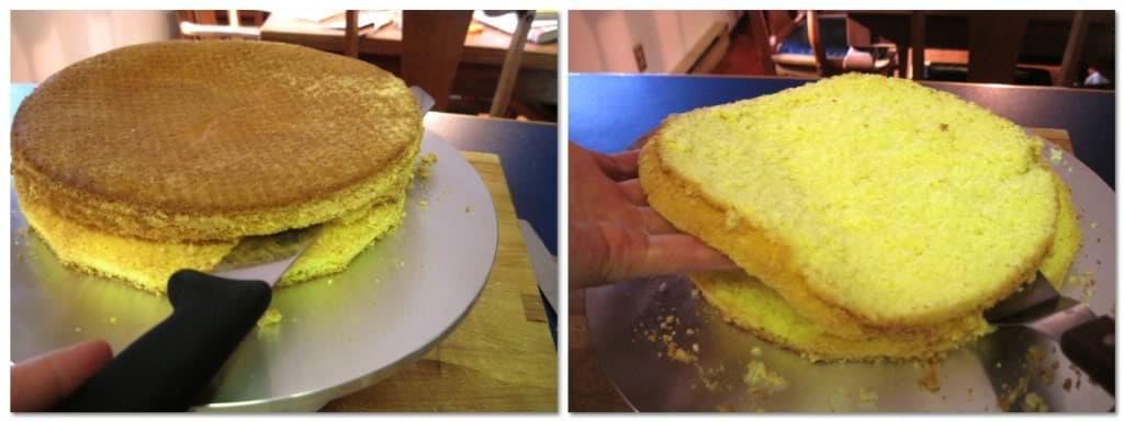 slice the sponge cake into three even layers