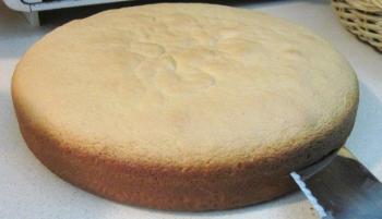 split the cake in half