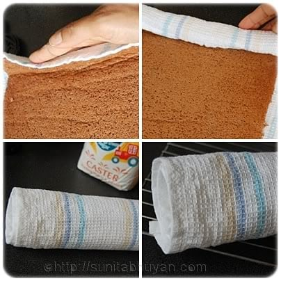 start to make a roll with the towel going inside