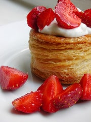 sweet with vanilla whipped cream and strawberries