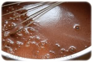 whisk together the sugar, cocoa powder, cornflour and water