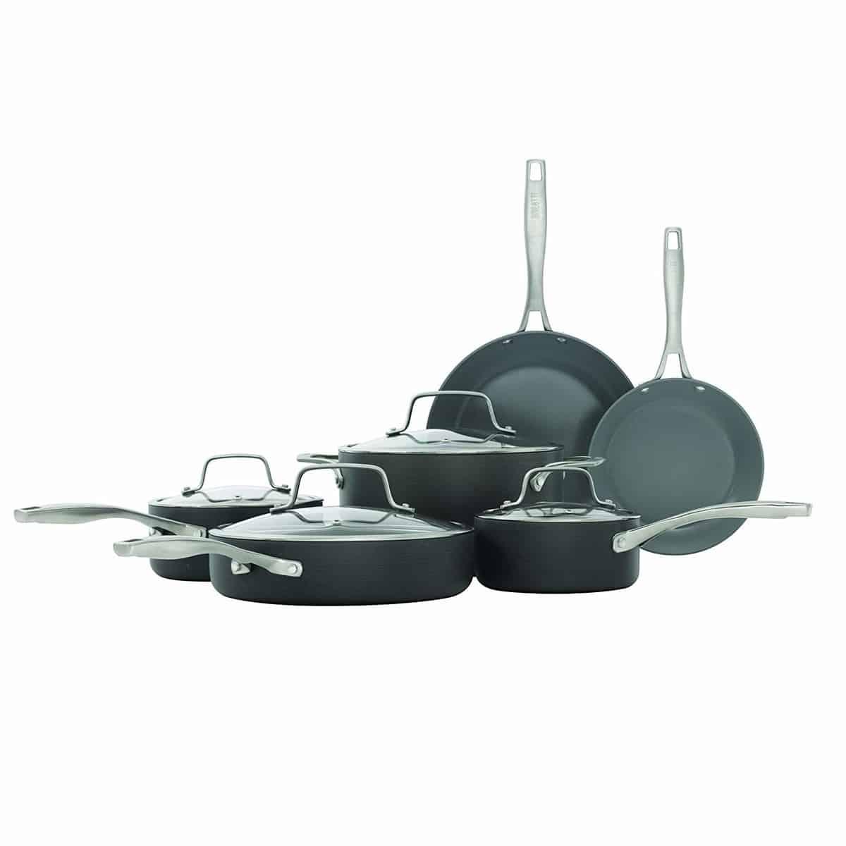 Bialetti 10 Piece Ceramic Pro Hard Anodized Nonstick Cookware Set, Gray