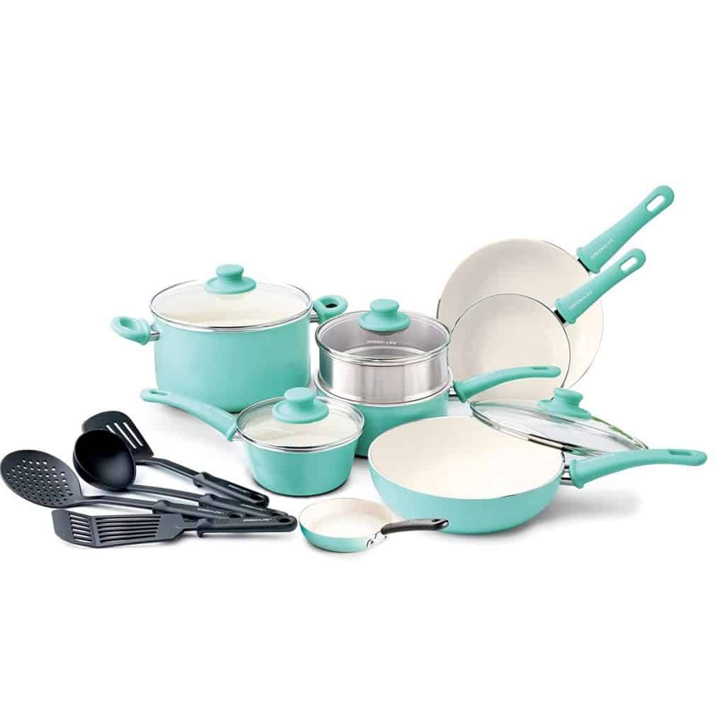 GreenLife Soft Grip 16pc Ceramic Non-Stick Set