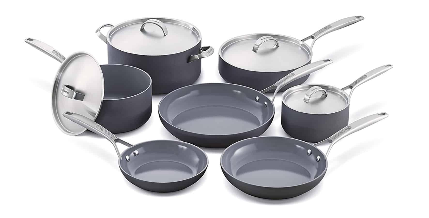 Top ceramic cookware set (11pc) of GreenPan Paris Pro Ceramic Non-Stick Cookware Set