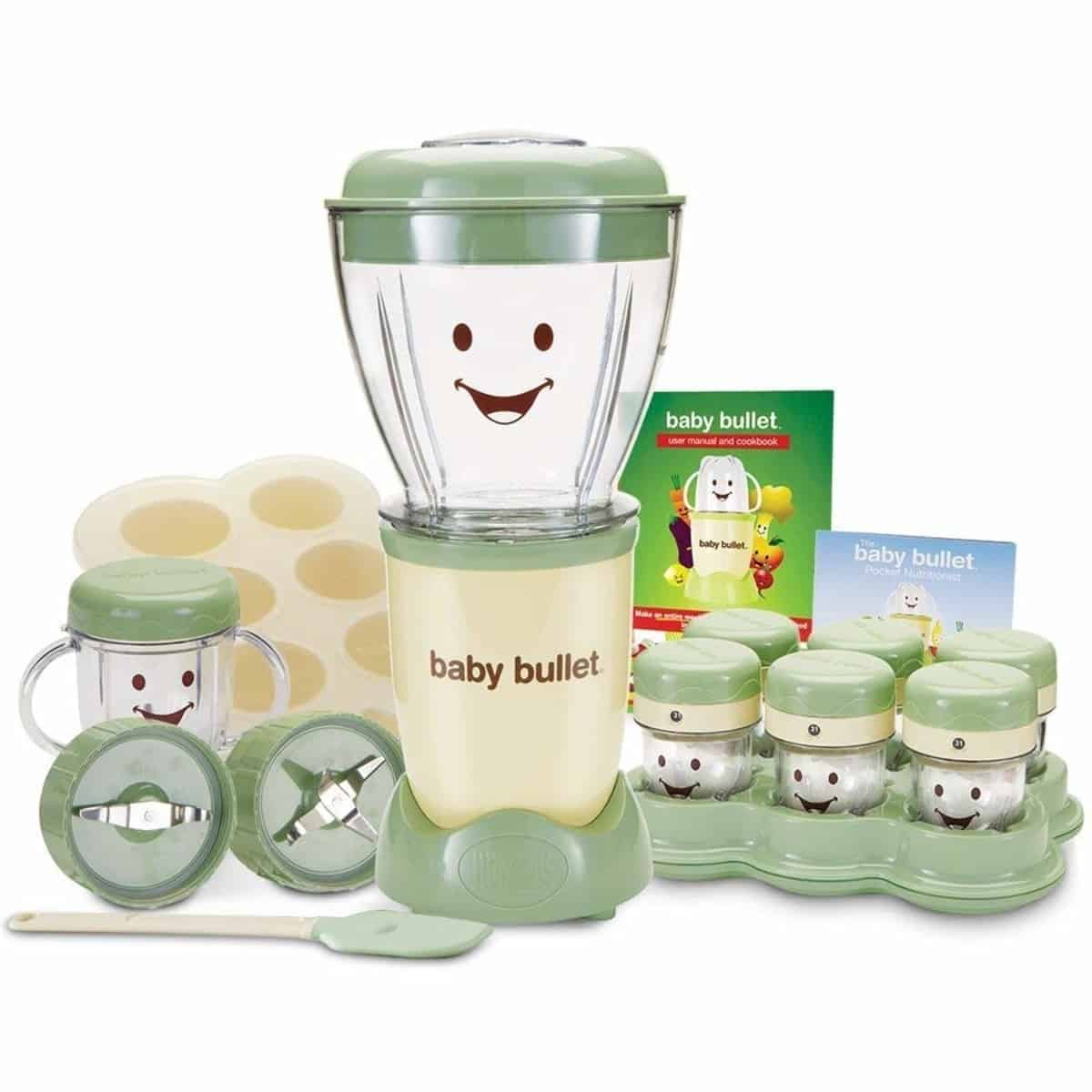 Magic Bullet Baby Bullet Baby Care System. 6-date dial storage cups, spatula, 1 short cup, 1 stay fresh resealable lid and tip proof tray, user manual and recipe book, pocket nutritionist