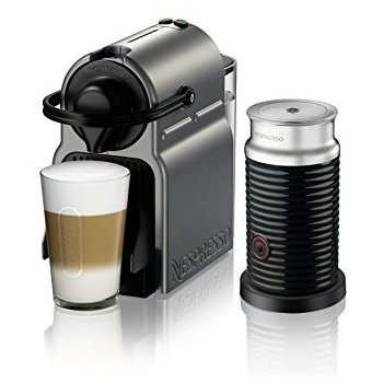 Nespresso Inissia Original Espresso Machine with Aeroccino Milk Frother Bundle by Breville, Titan