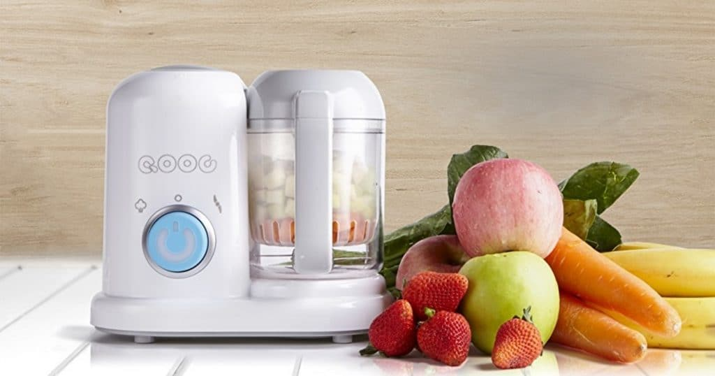 QOOC 4-in-1 Mini Baby Food Maker, fruits and vegetables. Best baby blender