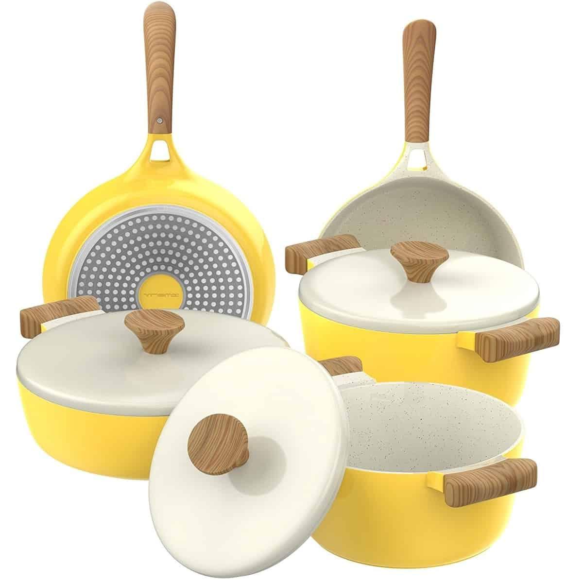 Vremi 8-Piece Ceramic Nonstick Cookware Set, Induction Stovetop Compatible Dish, Best ceramic cookware