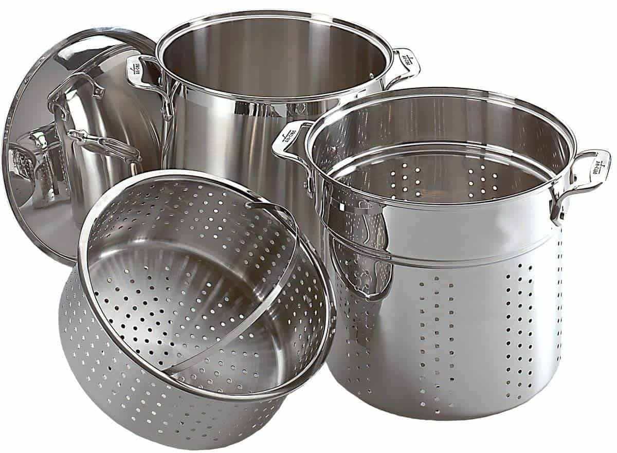 All-Clad Specialty Stainless Steel Dishwasher Safe 12-Quart Multi Cooker Cookware Set, 3-Piece, Silver