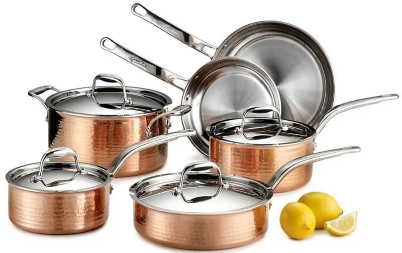 Lagostina Martellata Tri-Ply Hammered Stainless Steel Copper Cookware Set