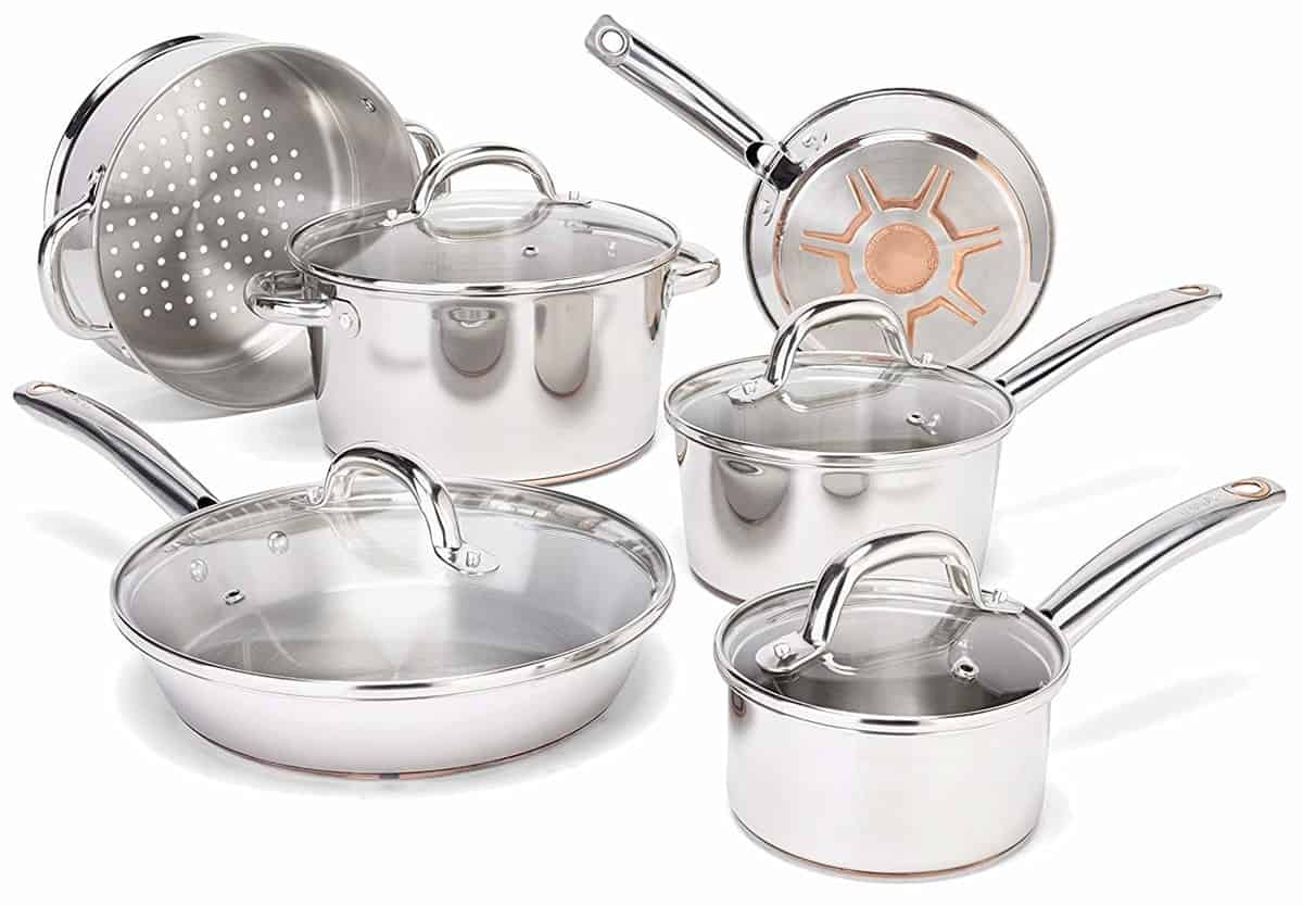 T-fal Ultimate Stainless Steel Copper-Bottom Heavy Gauge Multi-Layer Base Cookware Set, 10-Piece, Silver
