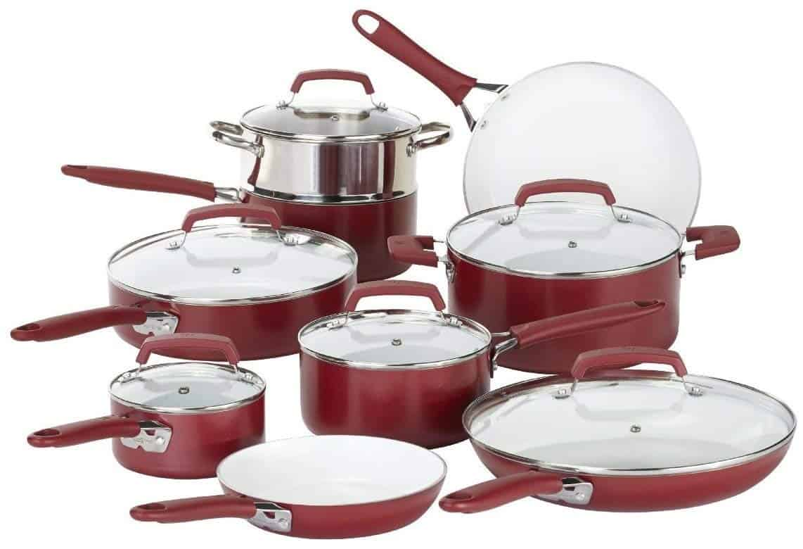 WearEver Ceramic Cookware Set, 15 Pieces, Nonstick Cookware Set, Red