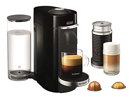 Nespresso Vertuo Coffee Bundle with Aeroccino Milk Frother by De'Longhi, Black