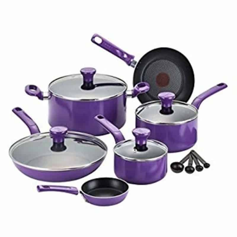 T-fal C511SE Excite Nonstick Thermo-Spot Cookware Set, 14-Piece, Purple