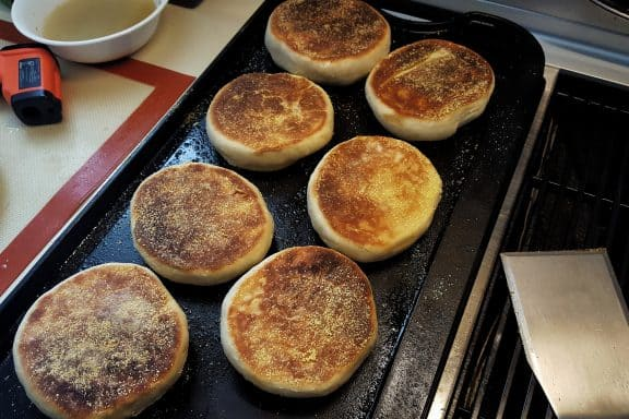 Electric griddle with English muffins
