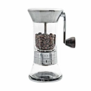 The Handground Precision Manual Coffee Grinder is pictured over a field of white