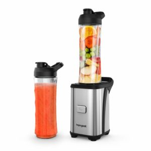 The Homgeek Personal Mini Blender Smoothie Maker is pictured over a field of white