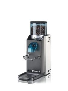 The Rancilio HSD-ROC-SD Rocky Espresso Coffee Grinder is pictured over a field of white