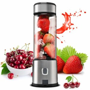 The TTLIFE Small Smoothie Blender Single Serve is pictured with fruit examples