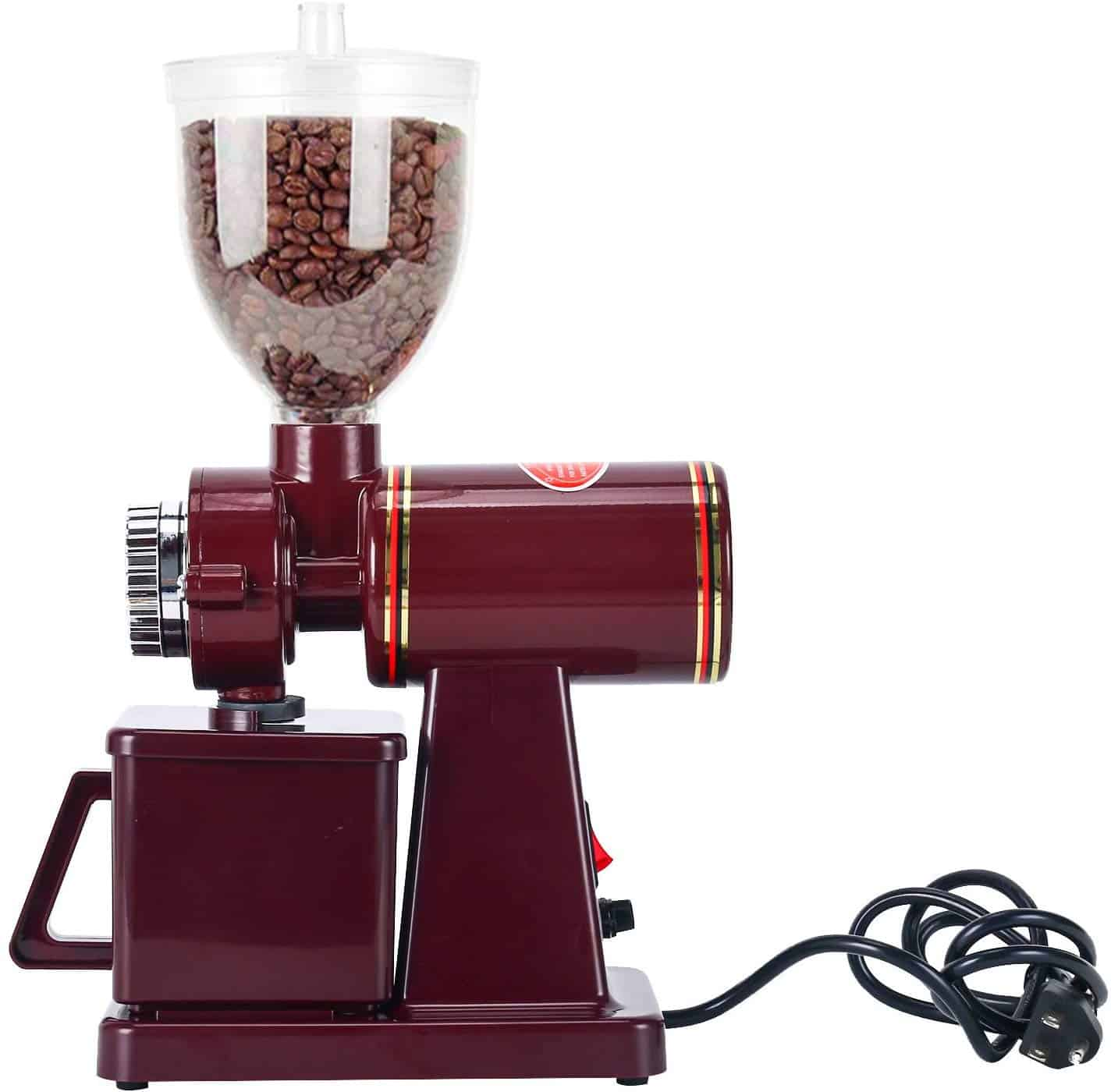 The Homend Automatic 110V Electric Burr Coffee Grinder is pictured over a field of white