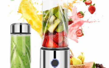 The iFedio Personal Portable Blender is pictured alongside stylized fruit