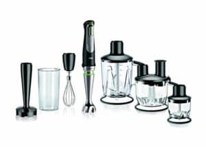 The Braun MQ9097 Multiquick Hand Blender is pictured alongside the included attachments