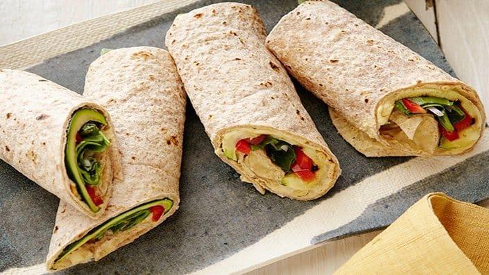 Hummus Roasted Veggie Rolls