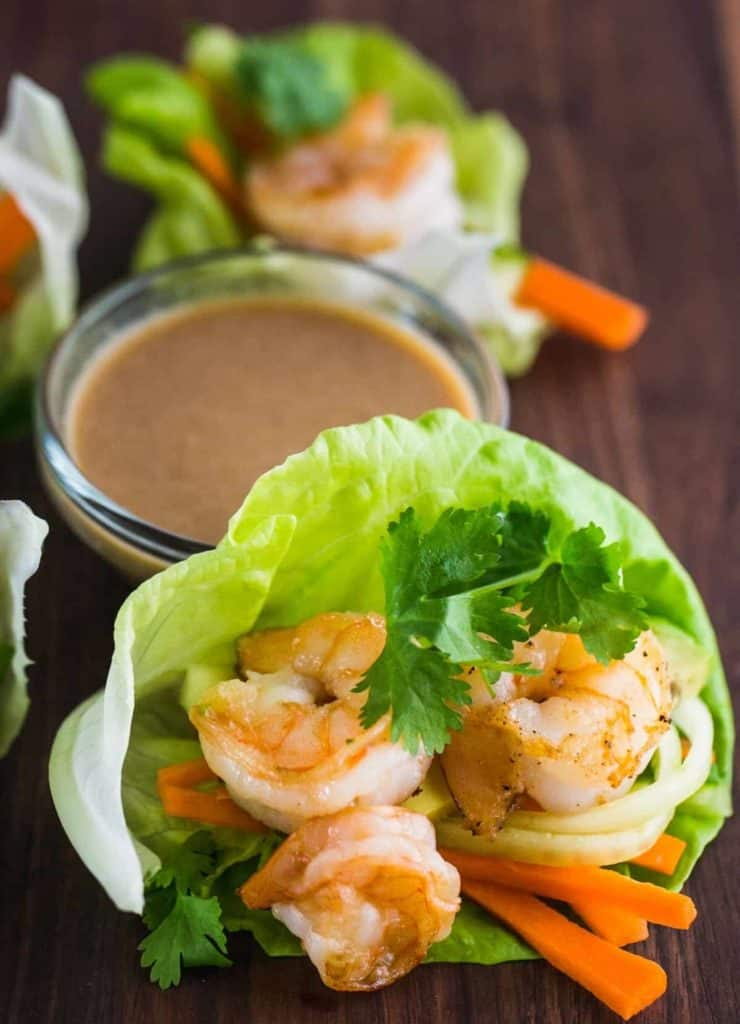 Shrimp Lettuce Cups with Dipping Sauce